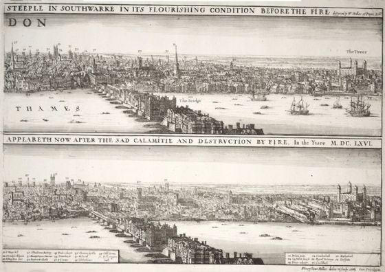 London England Before and After the Fire, 17th Century Print/Poster (5272)